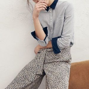 J. Crew | Wide-Leg Cropped Silk Leopard Print Pant